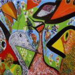 Birds. (no more tears). Oil on canvas; cm.70×70; 2000. Copyright © Flavio Cesarini