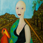 Dame met vogel. Oil on canvas; cm.60×50; 2014. Copyright © Flavio Cesarini
