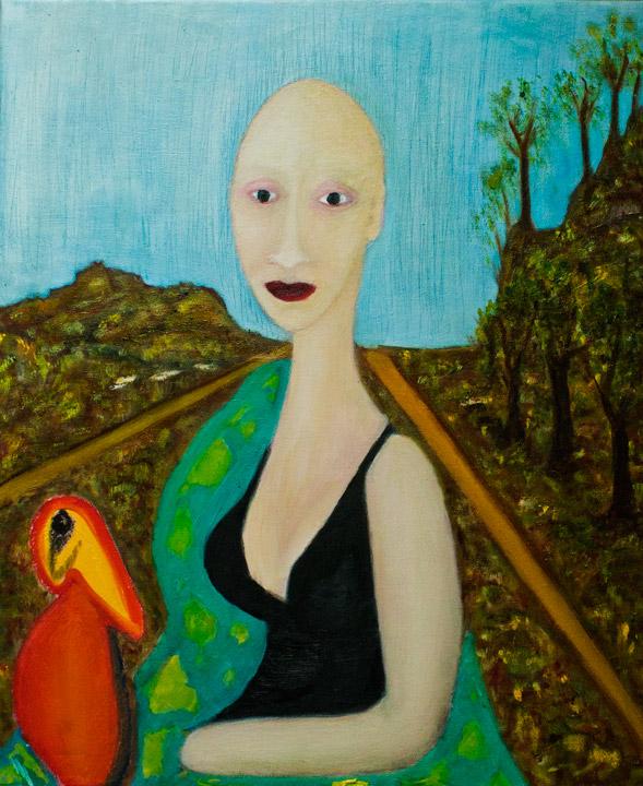 Dame met vogel. Oil on canvas; cm.60×50; 2014. Copyright © Flavio Cesarini