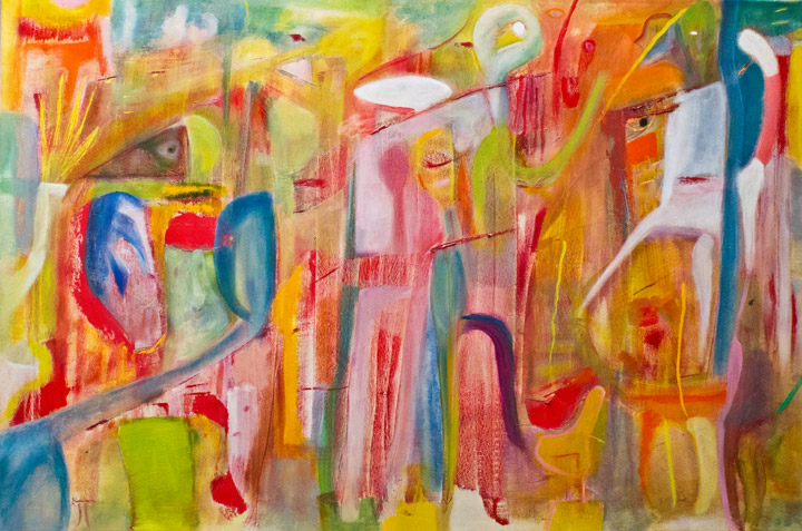 FIESTA. Oil on canvas; cm.60×90; 2017. Copyright © Flavio Cesarini